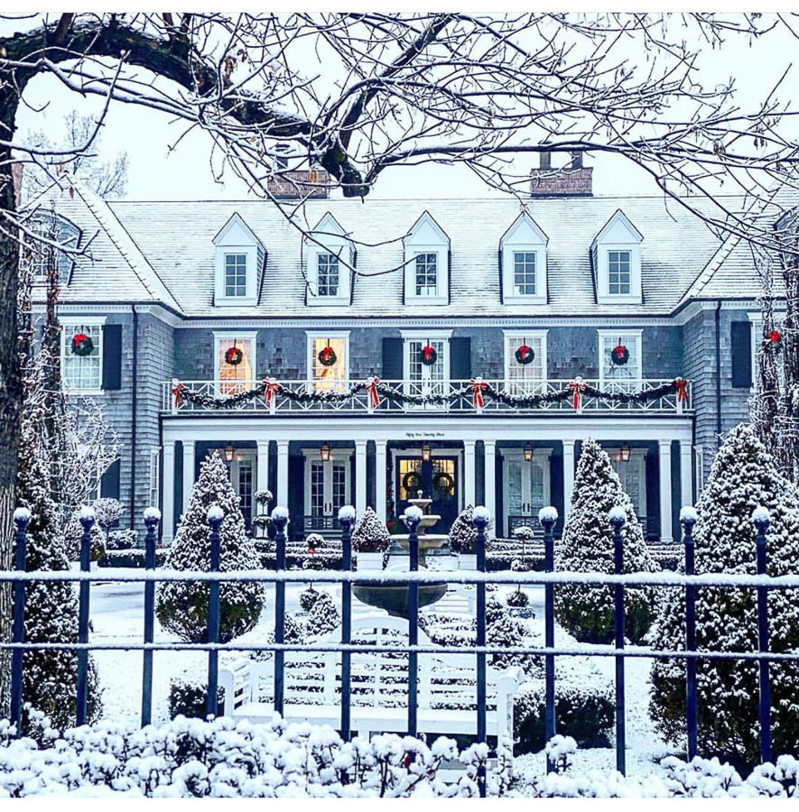Exterior Christmas Home Decor By The Fox Group Featuring Wreaths On Windows And A Snowy Yard