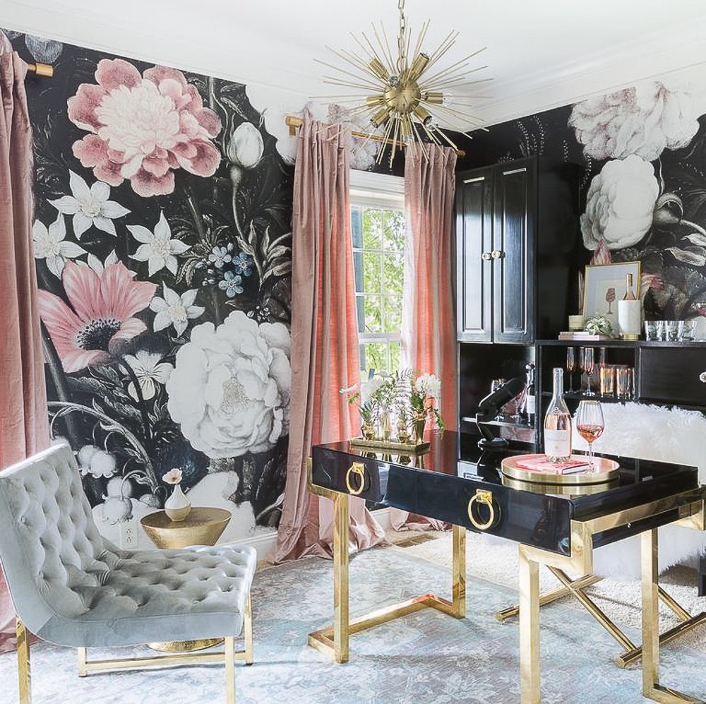 home office featuring bold wallpaper and statement making colors